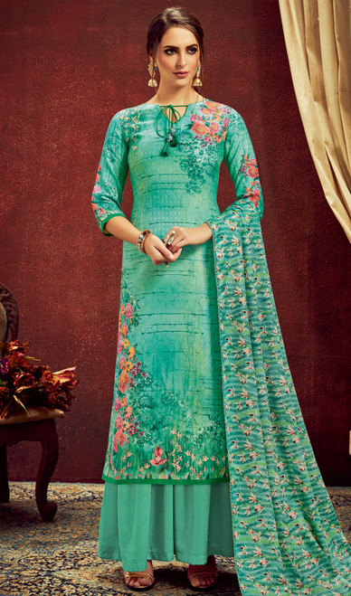 Sea Green Color Shaded Pashmina Jacquard Palazzo Dress