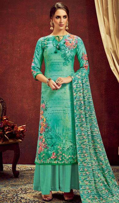 Sea Green Color Shaded Pashmina Jacquard Palazzo Dress