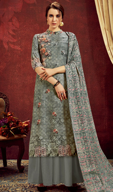 Gray Color Shaded Pashmina Jacquard Palazzo Suit