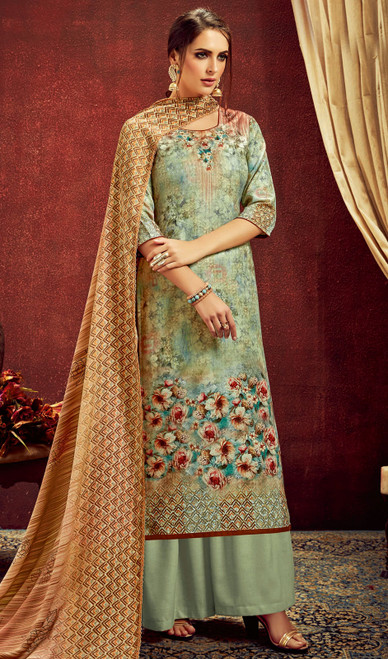 Pista Color Shaded Pashmina Jacquard Palazzo Dress