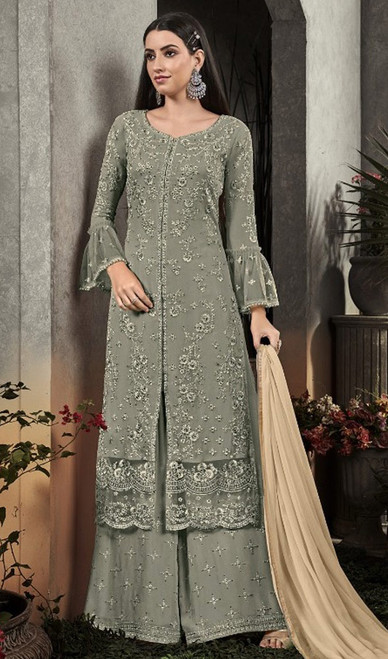 Embroidered Georgette in Green Color Palazzo Suit