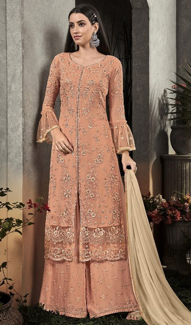 Georgette Embroidered Peach Color Palazzo Dress
