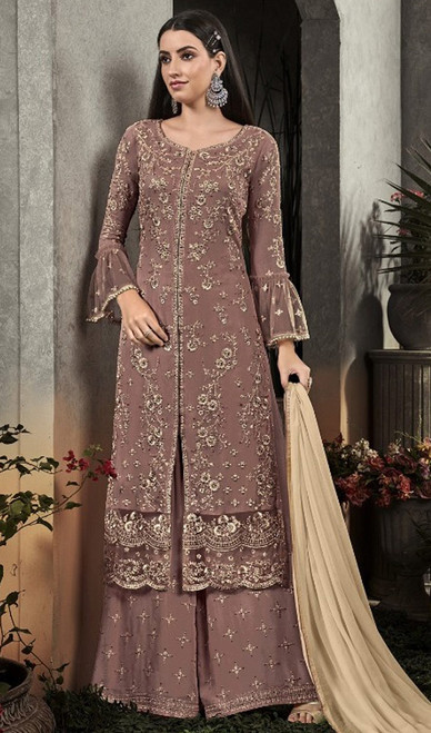 Brown Color Shaded Georgette Palazzo Suit