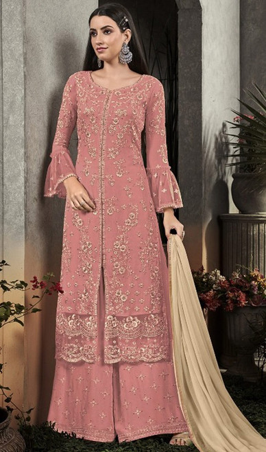 Palazzo Suit in Pink Color Embroidered Georgette