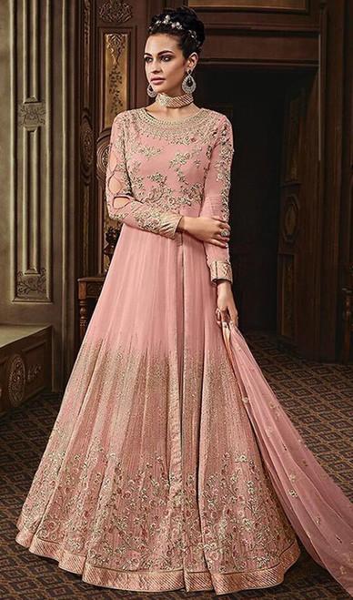 Embroidered Pink Color Georgette Anarkali Suit