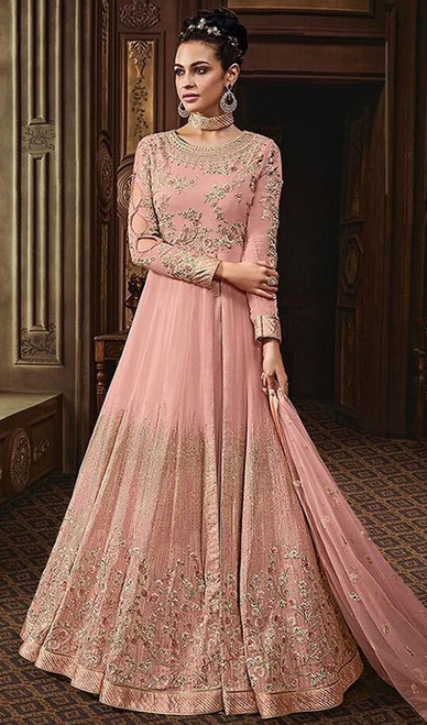 Embroidered Pink Color Georgette Anarkali Suit