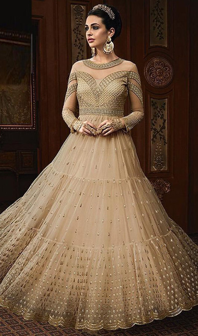 Cream Color Georgette Embroidered Anarkali Dress