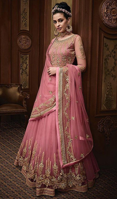 Anarkali Suit in Pink Color Embroidered Georgette