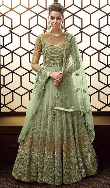 Embroidered Georgette Anarkali Suit in Green Color