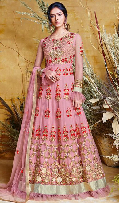 Embroidered Pink Color Net Anarkali Suit