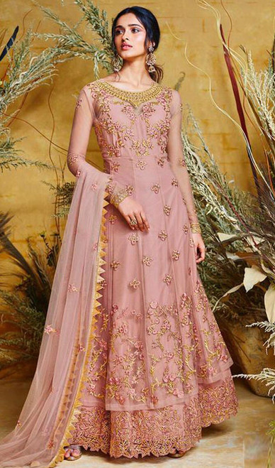 Anarkali Suit Net in Pink Color Shaded
