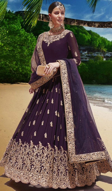 Georgette Purple Color Embroidered Anarkali Suit