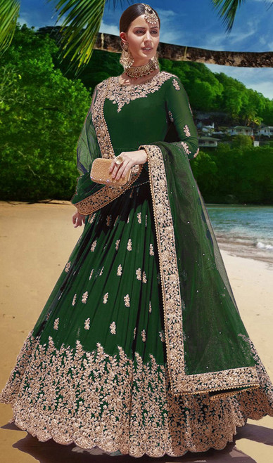 Green Color Embroidered Gerogette Anarkali Dress