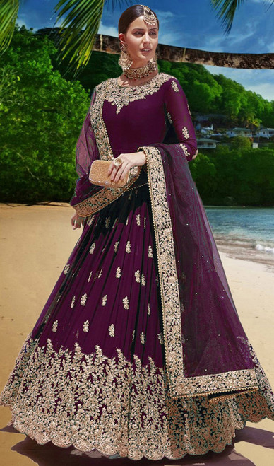 Violet Color Georgette Embroidered Anarkali Suit