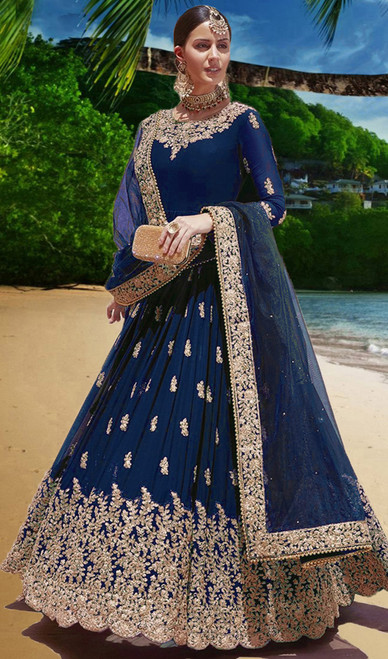 Embroidered Georgette Blue Color Anarkali Suit