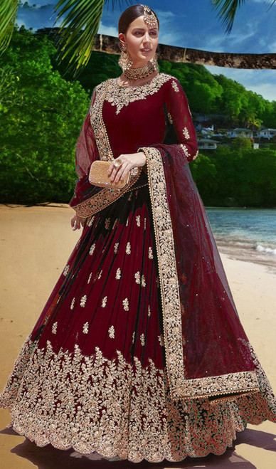 Anarkali Suit in Maroon Color Embroidered Georgette