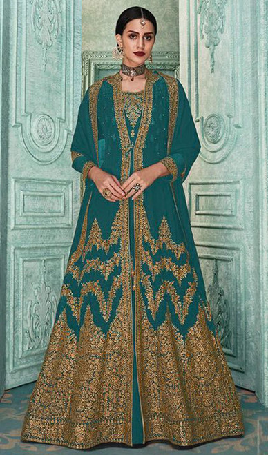 Georgette Embroidered Anarkali Dress in Green Color