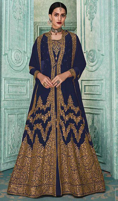 Navy Blue Color Embroidered Georgette Anarkali Suit