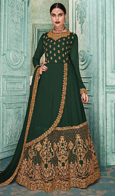 Anarkali Suit Green Color Embroidered Georgette