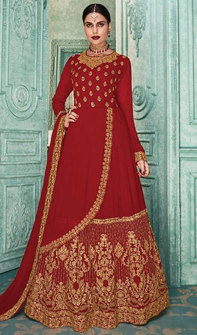 Georgette Red Color Embroidered Anarkali Suit