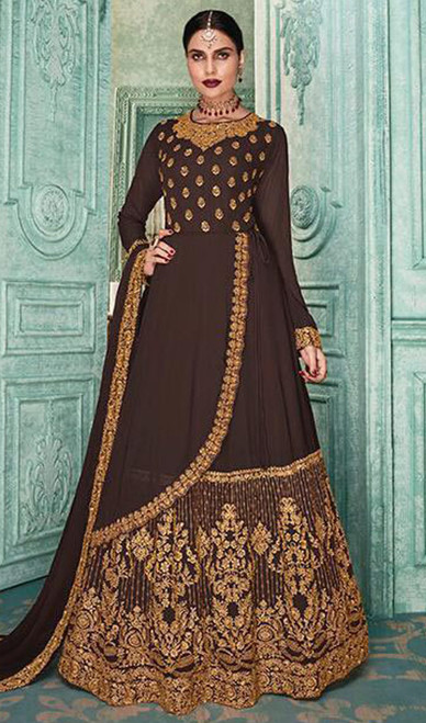 Brown Color Shaded Embroidered Georgette Anarkali Suit