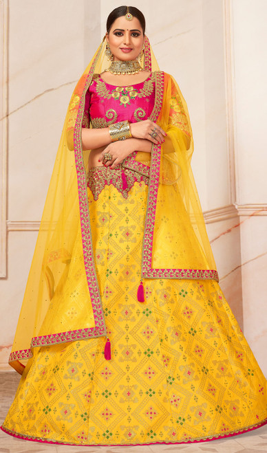 Yellow Color Jacquard Embroidered Choli Skirt