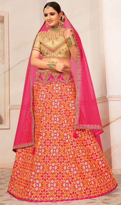 Orange Color Shaded Jacquard Lahenga Choli