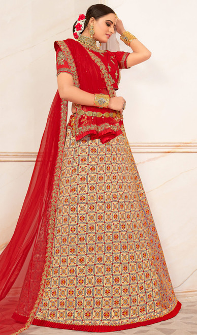 Beige Color Embroidered Jacquard Lehenga Cholie