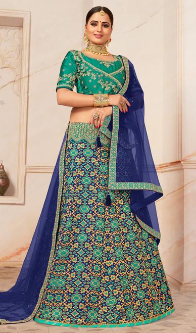 Lehenga Choli in Turquoise Color Shaded Jacquard