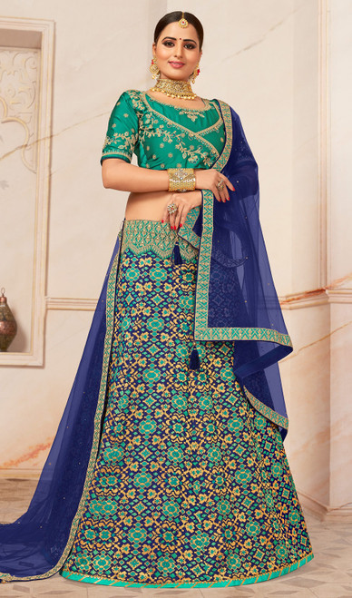 Lehenga Choli in Turquoise Color Shaded Jacquard