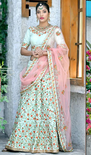 Mint Color Shaded Embroidered Silk Lehenga Choli
