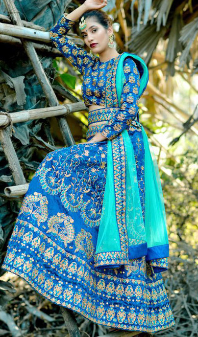 Blue Color Embroidered Silk Lahenga Choli
