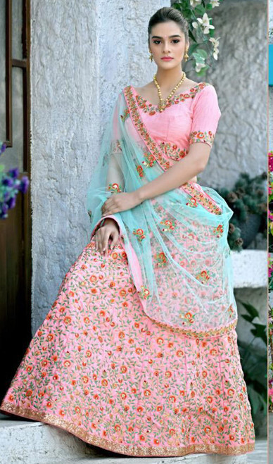 Peach Color Silk Embroidered Lehenga Cholie