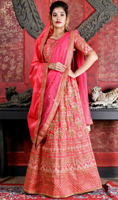 Pink Color Silk Embroidered Lahenga Cholie