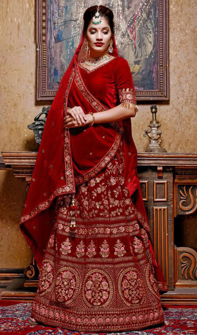 Cholie Skirt in Maroon Color Embroidered Silk