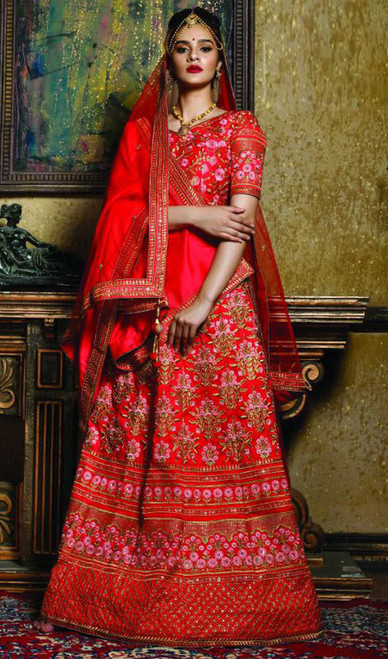 Lehenga Choli in Red Color Embroidered Silk
