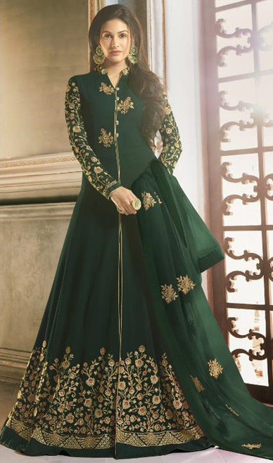 Green Color Embroidered Georgette Long Anarkali Suit