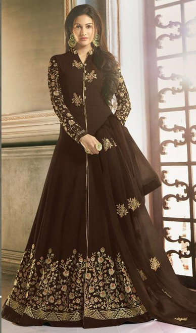 Chocolate Color Shaded Georgette Long Anarkali Dress