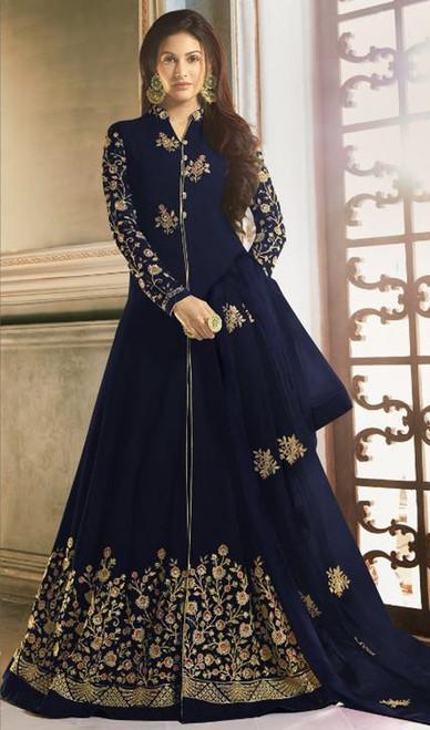 Navy Blue Color Embroidered Georgette Long Anarkali Suit