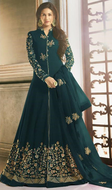 Teal Green Color Shaded Georgette Long Anarkali Dress