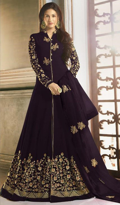 Long Anarkali Suit in Blue Color Shaded Georgette