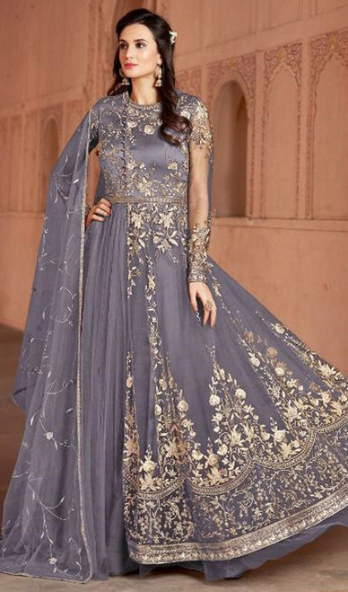 Gray Color, Embroidered Net Anarkali Suit