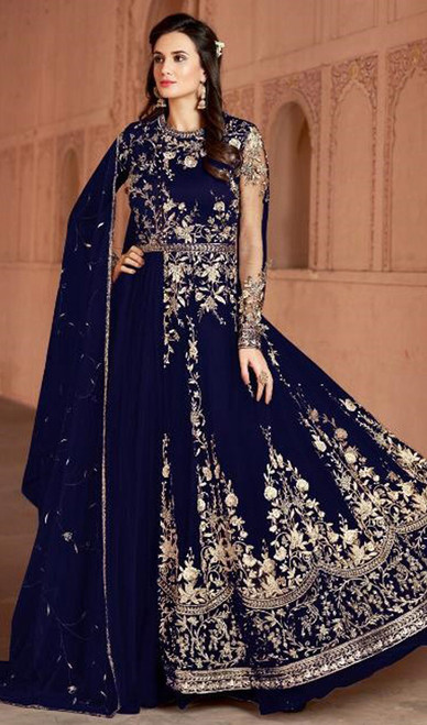 Royal Blue Color Shaded Net Anarkali Dress