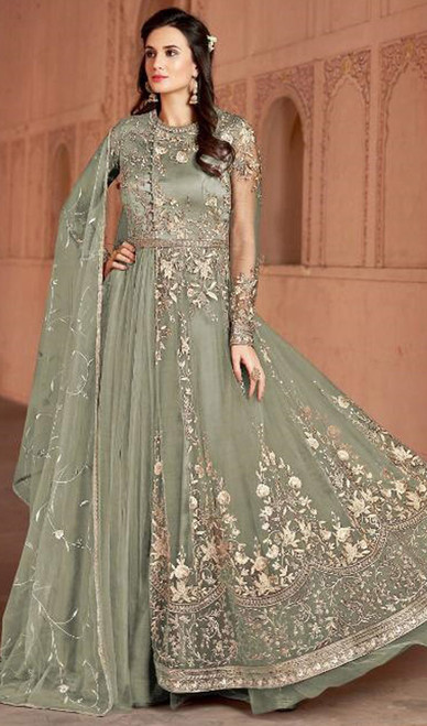 Anarkali Suit in Green Color Shaded Net