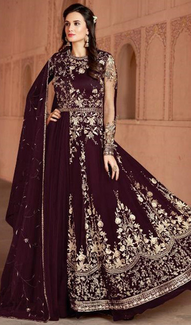Violet Color Shaded Net Anarkali Churidar Suit