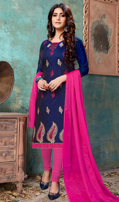 Embroidered Blue Color Cotton Churidar Suit