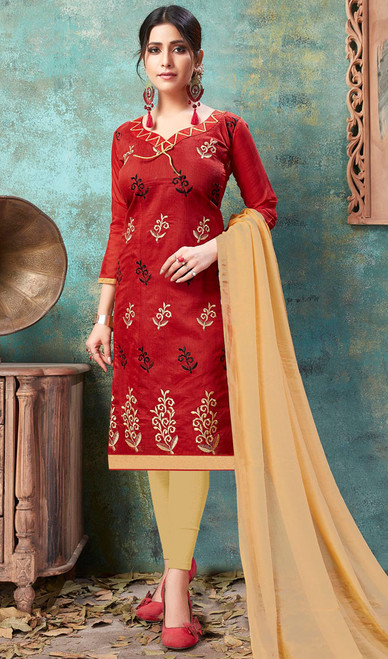 Cotton Maroon Color Embroidered Churidar Dress