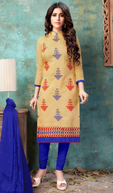 Cream Color Cotton Embroidered Churidar Dress