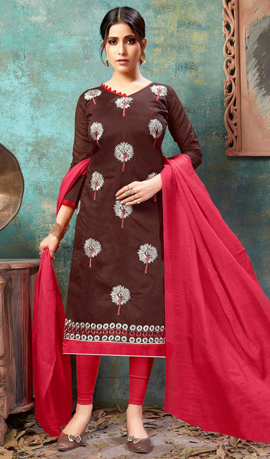Chocolate Color Shaded Cotton Churidar Kameez