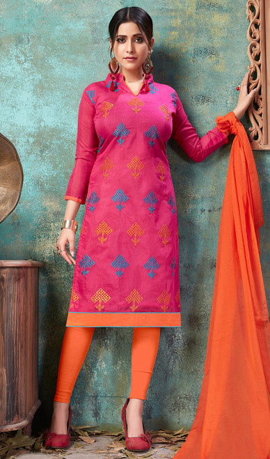 Pink Color Embroidered Cotton Churidar Suit